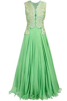 Mint green embroidered anarkali with jacket - Featuring a mint green chiffon flared anarkali with thread and dabka embroidered organza jacket. It has scalloping details on front button placket. It comes along with lycra net churidaar. Indian Gowns, Indian Attire, Indian Bridal Wear, Indian Wear, Pakistani Outfits, Indian Outfits, Fabulous Dresses, Beautiful Dresses, Divas