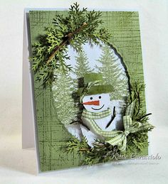 Snowman Another great use for a favorite branch punch. Thanks Kittie! Incredible uses of all kinds of dies at kittiecraft.Another great use for a favorite branch punch. Thanks Kittie! Incredible uses of all kinds of dies at kittiecraft. Homemade Christmas Cards, Christmas Cards To Make, Christmas Paper, Xmas Cards, Homemade Cards, Handmade Christmas, Holiday Cards, Christmas Crafts, Christmas Snowman