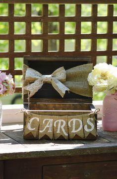 rustic card box for wedding, burlap wedding card box, shabby chic card holder, wooden chest, burlap banner, barn reception decor baby shower