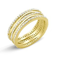 Beverly Hills Goldplated Sterling Silver Micropave Cubic Zirconia 3-row Ring