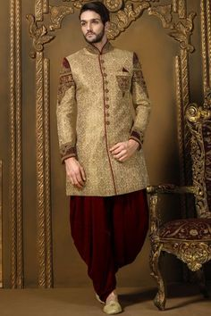 Gold & Maroon Khinkwab Wedding Sherwani_IW324