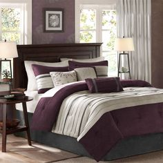 Madison Park Palmer 7 Piece Comforter Set-Comforters-Bedding-DesignerLiving We bought in black and gray!