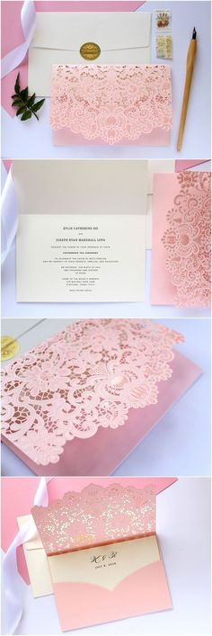 shade of pink laser cut spring wedding invitations/ blush pink wedding invitations/ lace wedding invitations/ rustic chic wedding invitations Quince Invitations, Laser Cut Wedding Invitations, Wedding Stationery, Invites, Handmade Wedding, Diy Wedding, Dream Wedding, Wedding Day, Spring Wedding