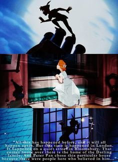 .. (1st lines) Narrator: All this has happened before, and it will all happen again. But this time it happened in London. It happened on a quiet street in Bloomsbury. That corner house over there is the home of the Darling family. And Peter Pan chose this particular house because there were people here who believed in him ... - Peter Pan (1953) #waltdisney #jamesmatthewbarrie