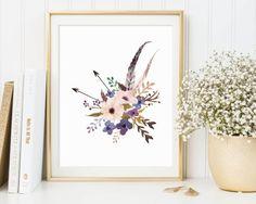 Floral Nursery Decor, Floral Wall Art, Floral Print, Floral Printable, Shabby Chic Print, Watercolor Flower Printable, Printable Floral Art
