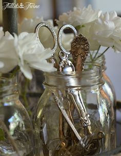 Serving Utensils in Mason Jar TidbitsTwine My Home {My Style}
