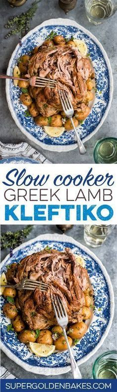 Slow cooker Greek Lamb Kleftiko with potatoes. The lamb is cooked until it is so… Slow cooker Greek Lamb Kleftiko with potatoes. The lamb is cooked until it is so tender it simply falls apart at the touch of the fork. Lamb Recipes, Greek Recipes, Meat Recipes, Cooking Recipes, Healthy Recipes, Recipies, Chicken Recipes, Crock Pot Slow Cooker, Slow Cooker Recipes