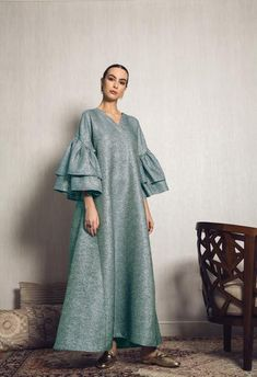 Ruffles Sleeves Kaftan in Navy Blue color- exclusively available on . You can also shop it in Gold or Aqua Blue on our Website! Abaya Fashion, Muslim Fashion, Modest Fashion, Fashion Dresses, Gothic Fashion, Steampunk Fashion, Simple Dresses, Elegant Dresses, Modest Wear