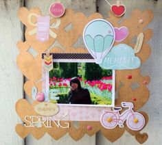 Hello Spring wall art using the Dear Lizzy collection from American Crafts by Valerie Huang.