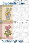 Soft Expressions: Sunbonnet Sue (6 figures per panel) &/or Suspender Sam (6 figures per panel) Quiltsmart Fusible Interfacing<br>1 Panel Fits on 10 in. Block