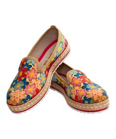 Take a look at this Blue & Red Floral Canvas Slip-On Espadrille today!