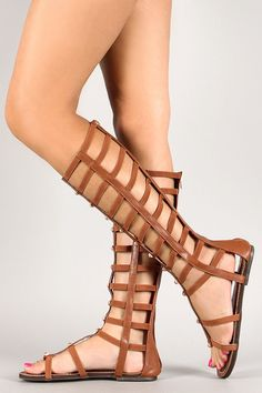 37b51e4391a0 Wild Rose Studded Strappy Caged Gladiator Flat Sandal