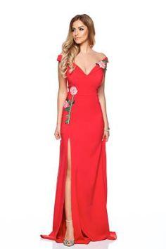 Rochie de seara lunga rosie despicata