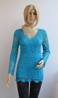 Crocheted sweater-tunic made to order crochet handmade by dosiak