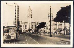 São Paulo - Rua Duque de Caxias - Onibus circulando. Cartão Postal antigo original, nº 73, editado p