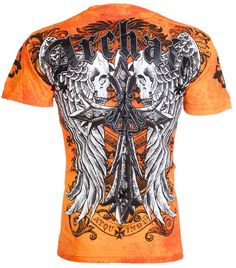 f8559d34030 Archaic AFFLICTION Men T-Shirt LUSTROUS Skulls Wing Tattoo Biker UFC M-3XL   40 c
