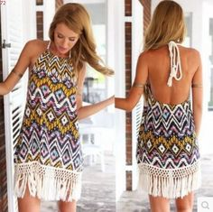 S Hippie Boho Summer Tassel Dress Halter Off The Shoulder Sun Women Ete De  Festa Vestido 1d11195755e5