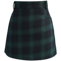 (Wk47) Chicwish Classy Tartan Bud Skirt in Green - $34 - chicwish.com