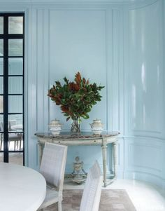 Mid sheen / gloss wall panelling in pale blue