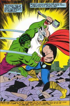 The Hulk vs Thor (Avengers / Defenders) Hulk Vs Thor, Hulk Marvel, Marvel Art, Comic Book Characters, Marvel Characters, Comic Books Art, Comic Art, Dragon Ball Z, Sal Buscema