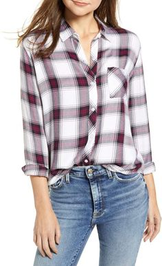 Plaid Shirt Outfits, Cute Outfits, Printed Blouse, Navy And White, Women Wear, Nordstrom, How To Wear, Shirts, Clothes