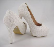 Handmade Ivory Beaded Lace Bridal Shoes Pearl High Heel Wedding Shoes UK3-8