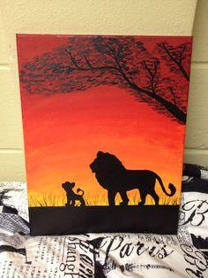 Lion silhouette for my little diamond - Mini Leinwand Kunst Disney Canvas Paintings, Disney Canvas Art, Small Canvas Art, Easy Canvas Painting, Mini Canvas Art, Disney Art, Acrylic Paintings, King Painting, Painting & Drawing