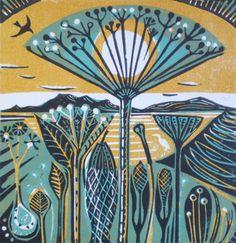 KIT BOYD: Seedheads by the Coast (ochre),  Linocut - 3 colour: ochre version.