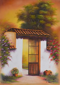 Paisajes Fáciles de Pintar al Óleo | Bodegones y Paisajes Cuadros al Óleo Pintura Colonial, Art Deco Paintings, Peacock Painting, Mexican Art, Famous Artists, Indian Art, Traditional Art, Beautiful Landscapes, Painting & Drawing