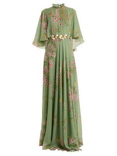Giambattista Valli Garden Butterfly-print Tiered Silk-georgette Gown In Green Print Indian Gowns Dresses, Modest Dresses, Evening Dresses, Designer Party Wear Dresses, Designer Gowns, Lovely Dresses, Vintage Dresses, Long Gown Dress, Printed Gowns