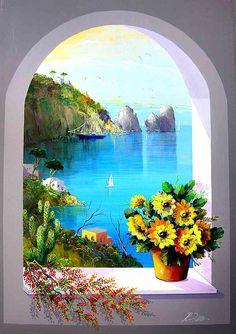 Capri by Roberto Zaccardelli - Malerei Kunst Greece Painting, Diy Canvas Art, Pastel Art, Painting Inspiration, Landscape Paintings, Amazing Art, Watercolor Art, Art Projects, Big Oil