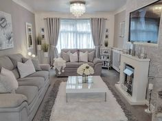 Home Interior Living Room .Home Interior Living Room Decor Home Living Room, Elegant Living Room, Living Room Grey, Home And Living, Living Room Designs, Home Decor, Christmas Living Rooms, Condo Living, Indian Living Rooms