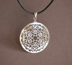 Star Mandala Sterling Silver Hand Cut Pendant by IntricateCuts