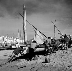 Albufeira by Artur Pastor Algarve, Lisbon Portugal, Vintage Photographs, Old Photos, Sailing Ships, Pond, Ocean, Black And White, Beach