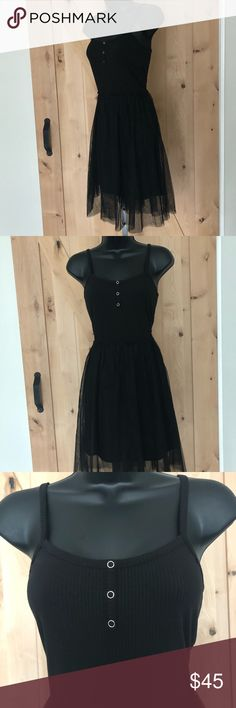 NWT English Factory tank dress tulle overlay S Gorgeous dress with tank at top of dress and tulle at bottom; spaghetti straps and button detailing; New with Tags English Factory Dresses Midi
