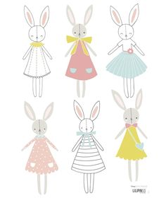 Stickers lapins fille Sweet Bunnies by Flora Waycott x 42 cm), Lilipinso. Stickers animaux de la collection Sweet Bunnies by Flora Waycott - Le Kids Patterns, Print Patterns, Lapin Art, Decoration Stickers, Bunny Art, Bunny Drawing, Kids Prints, Pattern Illustration, Nursery Art