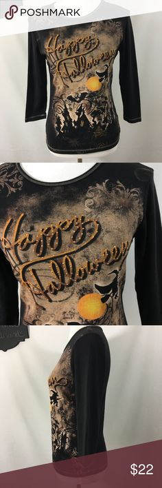 Happy Halloween Witch Long Sleeve Tee 🎃 cute cotton embellished tee with Happy Halloween and witches! 🎃 Laura Scott Tops Tees - Long Sleeve