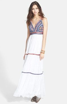 Free People 'Party Soleil' Beaded Cotton Maxi Dress available at #Nordstrom