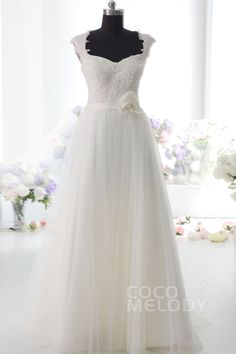 Pretty Sheath-Column Natural Floor Length Tulle Ivory Side Zipper Wedding Dress with Sashes and Appliques CWSF14004