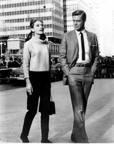 "Audrey Hepburn and George Peppard on the streets of Manhattan during the filming of ""Breakfast at Tiffany's."""