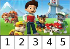 Puzle of numbers canine patrol 1 Number Games Preschool, Preschool Printables, Preschool Lessons, Preschool Crafts, Autism Activities, Kindergarten Activities, Activities For Kids, Games For Kids, Paw Patrol Party