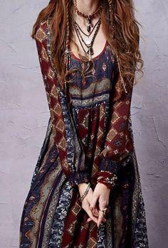 Bohemian Chiffon Dress Sleeve Style: Lantern Sleeve Material: Cotton,Poly Dresses Length: Ankle-Length - Another! Gypsy Style, Hippie Style, Bohemian Style, Brunette Girls, Brunette Woman, Boho Chic, Boho Outfits, Fashion Outfits, Fashion Ideas