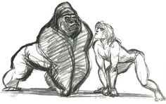 Walt Disney Studios motion pictures' sketches by Glen Keane: Tarzan. Disney Kunst, Arte Disney, Disney Art, Tarzan Disney, Animation Sketches, Art Sketches, Art Drawings, Drawing Faces, Walt Disney Animation Studios