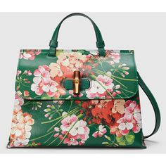 Gucci Bamboo Daily Blooms Top Handle Bag (18.855 ARS) ❤ liked on Polyvore featuring bags, handbags, shoulder bags, new arrivals, leather purse, genuine leather purse, green handbags, gucci handbags and floral leather handbag