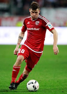 Pascal Gross of Ingolstadt 04 in action during the Bundesliga match between FC Ingolstadt 04 and FC Augsburg at Audi Sportpark on November 5, 2016 in Ingolstadt, Germany.