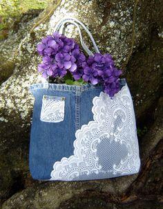 Denim Jeans and Lace Tote Bag Romantic Purse by BoPeepsBlackSheep, $25.00 Denim Handbags, Purses And Handbags, Old Jeans Recycle, Fabric Tote Bags, Denim Ideas, Handmade Purses, Denim And Lace, Recycled Denim, Denim Bag