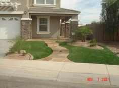 Arizona Front yard, My husband designed our new front yard and contracted out th. - Arizona Front yard, My husband designed our new front yard and contracted out the cement work curbing and artificial turf. He did alot of th… Front Yard Design, Patio Design, Backyard Designs, Fresco, Small Front Gardens, Small Backyard Patio, Artificial Turf, Arizona, Front Yard Landscaping