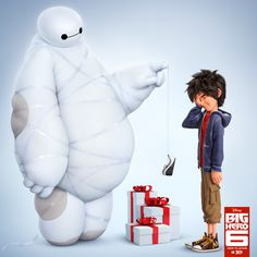 Baymax is programmed to do a lot of things. Wrapping presents is not one of them. And Hiro Hamada does looked embarrassed about it. Walt Disney, Disney Films, Cute Disney, Disney Magic, Disney Pixar, Baymax Drawing, Big Hero 7, Gogo Tomago, Hiro Hamada