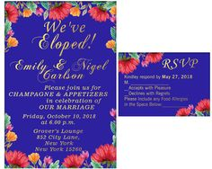 Items similar to Elopement Party Invitation and RSVP, Elopement Party Watercolor Wedding Invitation, Elopement Invitation We Eloped, Just Married Digital on Etsy Elopement Party, October 10, Food Allergies, Rsvp, Party Invitations, Champagne, Marriage, Handmade Gifts, Awesome
