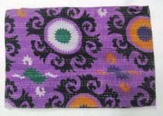 Suzani Reversible kantha Cotton Quilt Throw Bedspread Twin Gudari Decor Blanket